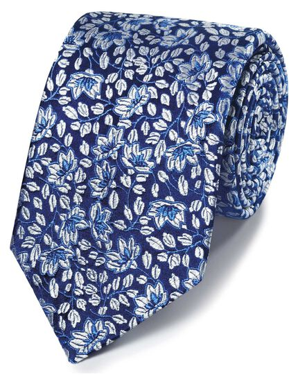 White silk floral English luxury tie