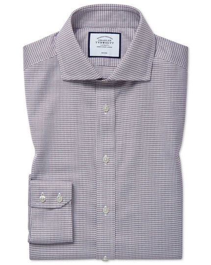 Slim fit cutaway non-iron cotton stretch berry shirt
