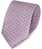Cravate classique rose clair avec imprimé requin