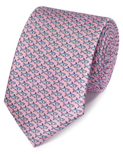 Light pink shark print classic tie