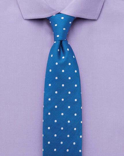 Extra slim fit spread collar non-iron twill lilac shirt