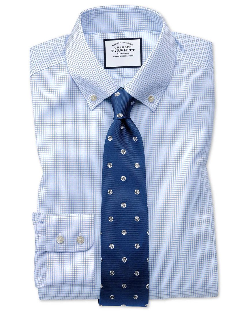 Extra slim fit button-down non-iron twill mini grid check sky blue shirt
