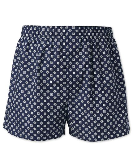 Navy printed square woven boxers