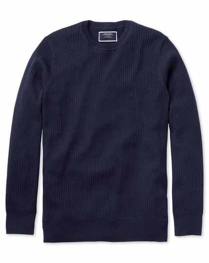 Navy merino rib crew neck sweater