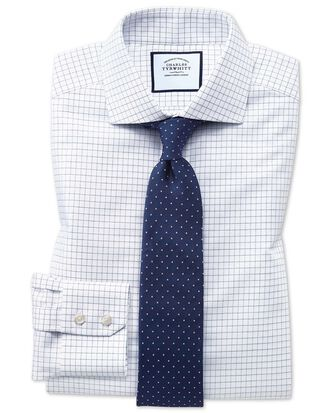 Slim fit non-iron cutaway collar navy fine check shirt