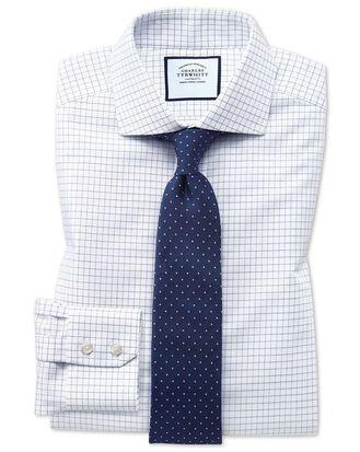 Slim fit non-iron spread collar navy fine check shirt
