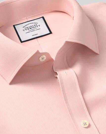 Bügelfreies Hemd mit Kent-Kragen und Micro-Diamond-Muster - Apricot