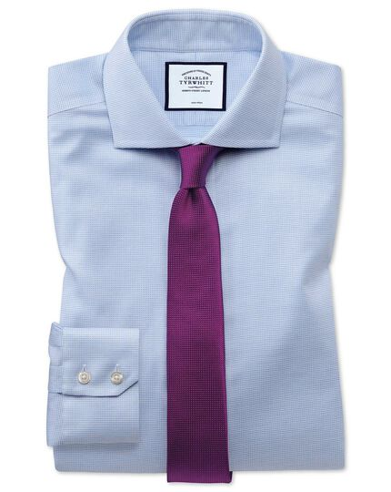 Super slim fit non-iron cotton stretch Oxford sky blue shirt