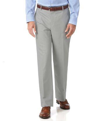 Pantalon argent en tissu stretch coupe droite sans repassage
