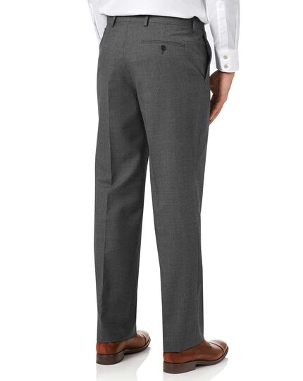 Charcoal classic fit Panama puppytooth business suit trousers