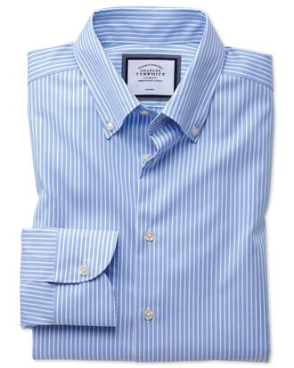 Slim fit button-down business casual non-iron sky blue and white stripe shirt