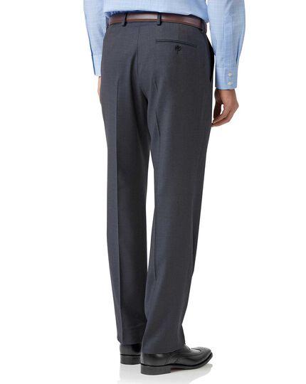 Pantalon de costume business bleu acier en twill coupe droite