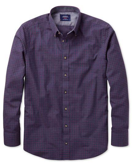 Slim Fit Hemd aus weicher Baumwolle in Marineblau und Beerenrot mit Karos
