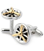 Antique silver and gold propeller cufflinks