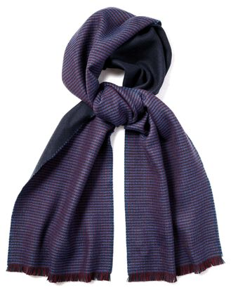 Navy and burgundy merino reversible scarf