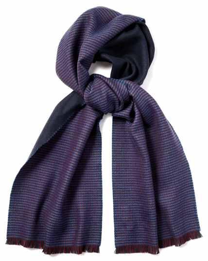 Navy and burgundy merino reversible scarf