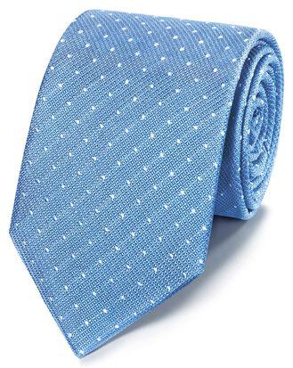 Sky blue and white stain resistant Fleur-de-Lys classic tie