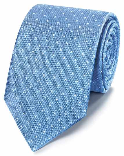 Sky and white classic stain resistant textured spot tie