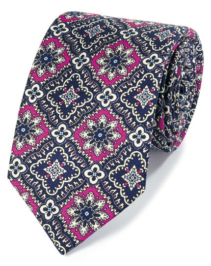 Pink and navy mosaic floral silk English luxury tie
