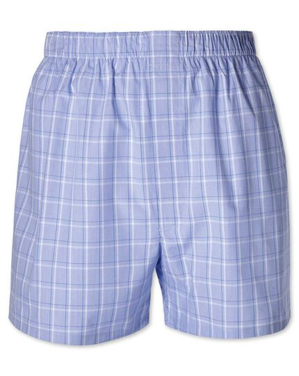 Blue check woven boxers