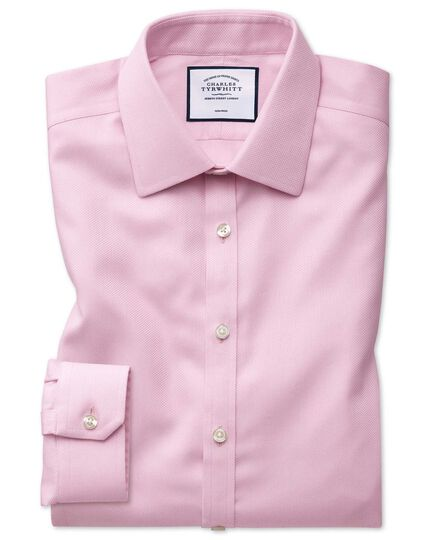 Super slim fit non-iron pink arrow weave shirt