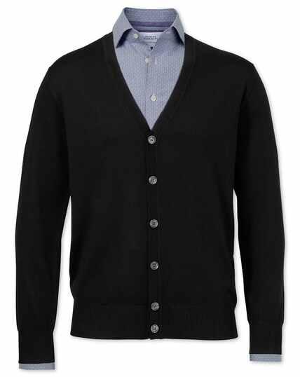 Black merino wool cardigan