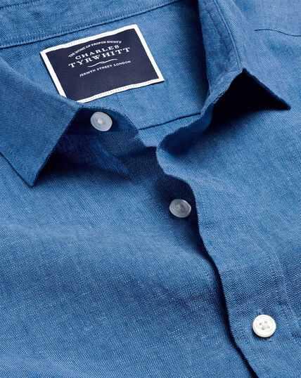 Hemd aus Leinen - Leuchtend Blau