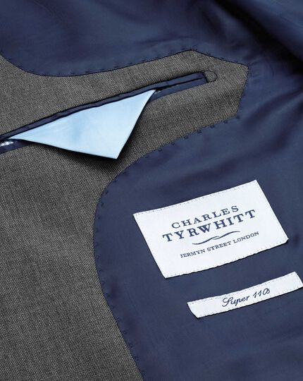Classic Fit Businessanzug Sakko aus Twill in Mittelgrau