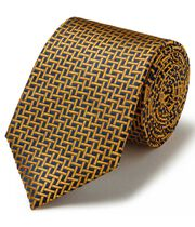 Navy and gold silk large lattice stain resistant classic tie