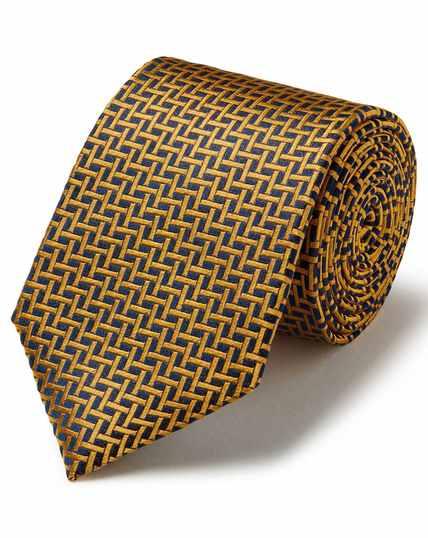 Marineblauw/goudkleurige vlekbestendige klassieke zijden stropdas met rasterdessin