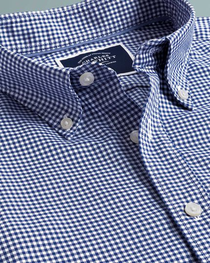 Gingham Soft Washed Non-Iron Stretch Shirt - Royal Blue