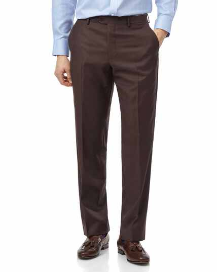 Brown classic fit twill business suit trousers