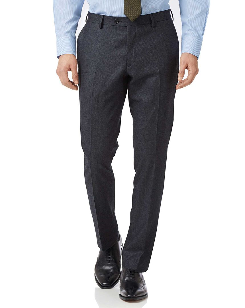 Charcoal and blue slim fit stripe flannel business suit pants