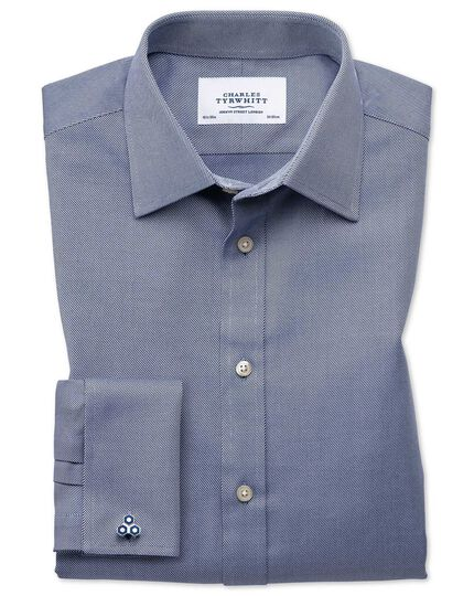 Extra slim fit Egyptian cotton cavalry twill navy blue shirt