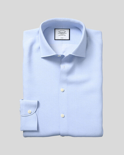 Business Casual Collar Non-Iron Tile Print Shirt - Sky