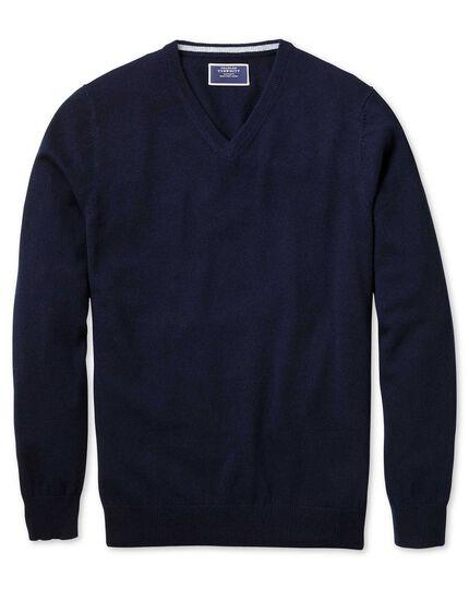 Navy v-neck pure cashmere jumper
