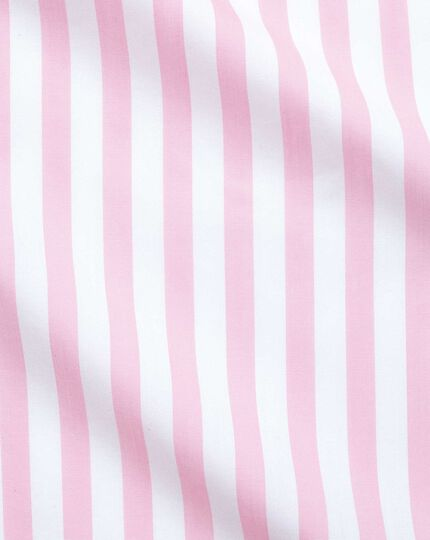 Extra slim fit non-iron pink wide bengal stripe shirt