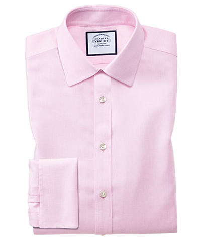 Slim fit non-iron step weave pink shirt