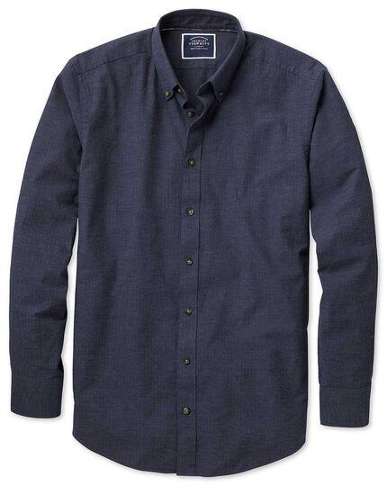 Extra slim fit blue herringbone melange shirt