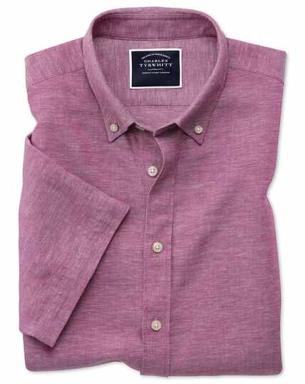 Slim fit dark pink cotton linen twill short sleeve shirt