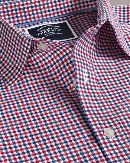 Bügelfreies Classic Fit Oxfordhemd mit Gingham-Karos in Rot und Marineblau