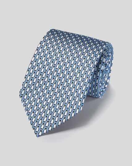 Penguin Silk Print Tie - Sky