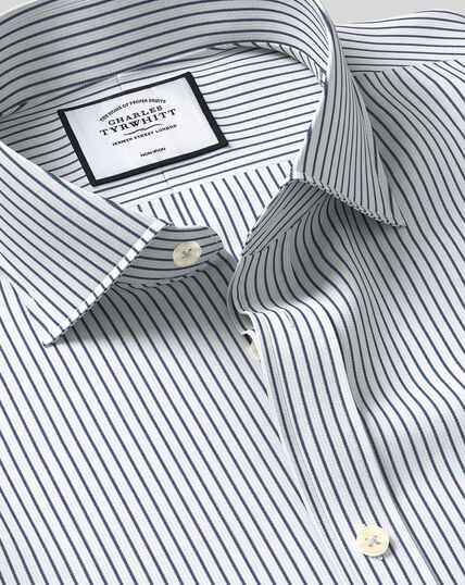 Cutaway Collar Non-Iron Dobby Stripe Shirt - Navy