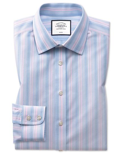 Slim fit non-iron pink and blue multi stripe shirt