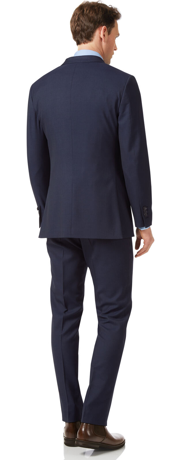 Navy slim fit sharkskin travel suit