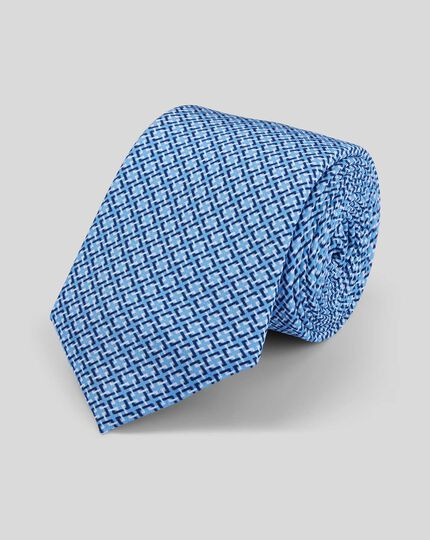 Slim Geometric Print Tie - Sky