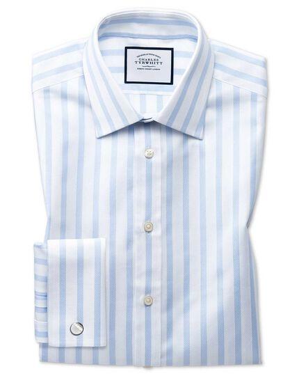 Slim fit Egyptian cotton royal Oxford sky blue stripe shirt