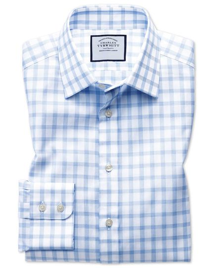 Extra slim fit windowpane check sky blue shirt