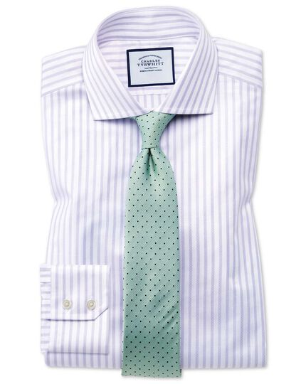 Extra slim fit cutaway textured stripe lilac and white shirt