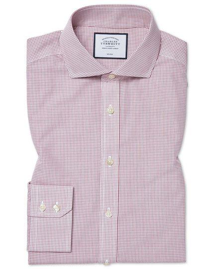 Bügelfreies Tyrwhitt Cool Extra Slim Fit Popeline-Hemd mit Karos in Beerenrot